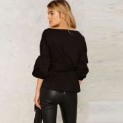 T044 Puffer Sleeves Wrap Top in Black